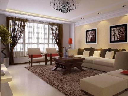 中式经典风格客厅黑色窗帘
