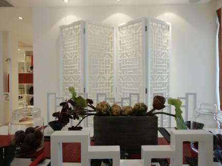 白色中式风格餐厅隔断装修美图