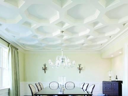 白色简欧风格餐厅吊顶装修效果图