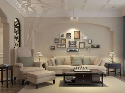 米色唯美地中海风格客厅吊顶装修设计图