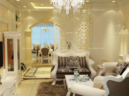 米色唯美简欧风格客厅背景墙装修设计图