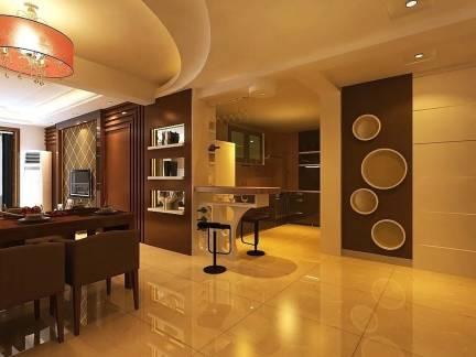 棕色现代风格餐厅吧台装修设计图