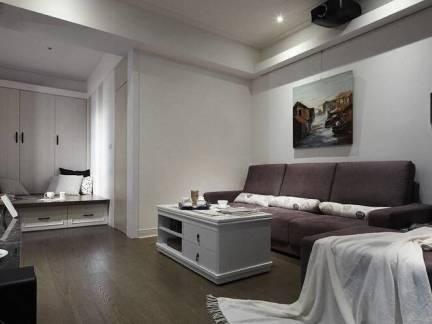 灰色素雅现代风格卧室电视柜装修美图
