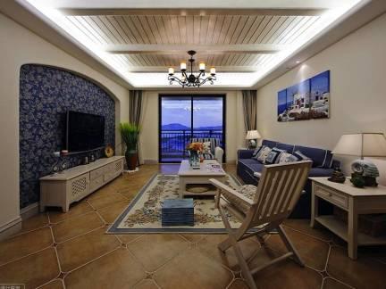棕色地中海风格客厅温馨电视柜装修图片