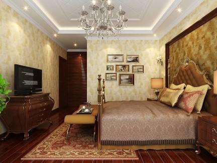 米色欧式风格卧室照片墙装修设计图