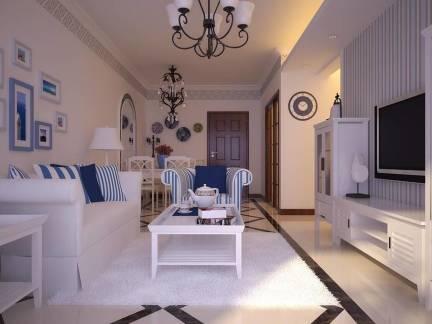 白色地中海风格客厅电视柜装修效果图
