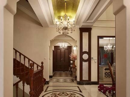美式风格阁楼过道米色吊顶装修图片