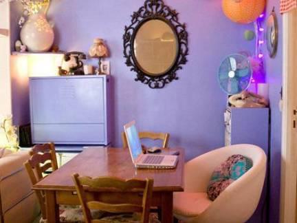 紫色简约风格餐厅背景墙装修效果图