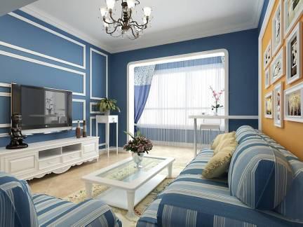 蓝色地中海风格客厅背景墙装修效果图