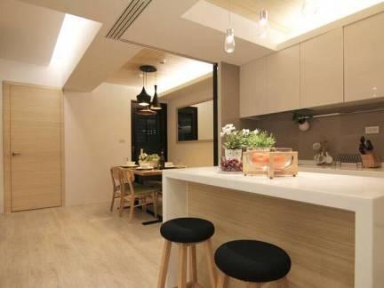 米色现代风格厨房吧台装修效样板间