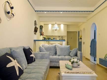 米色为主地中海风格客厅吊顶装修图片