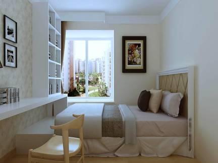 米色现代风格卧室照片墙装修图片