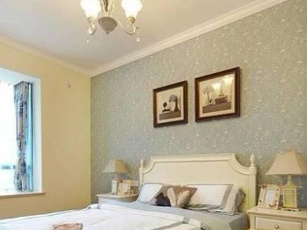 米色田园风格卧室床头柜装修设计图