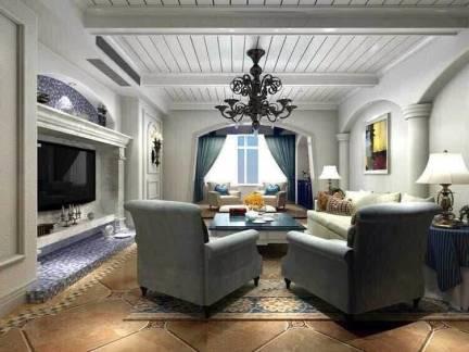 灰色地中海风格客厅吊顶装修效果图