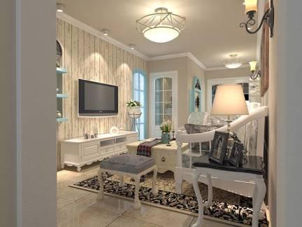 米色温馨地中海风格客厅背景墙装修图片