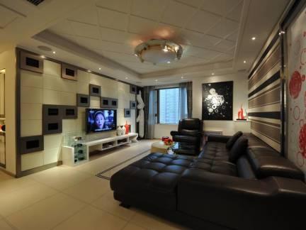 棕色舒适现代风格客厅吊顶装修设计图
