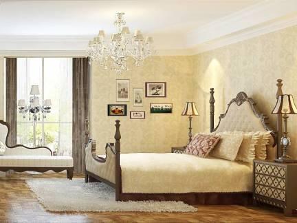 米色欧美风格卧室照片墙装修效果图