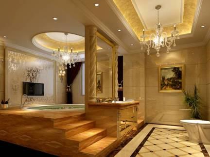 棕色欧式风格卫生间吊顶装修设计图