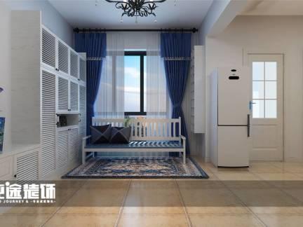 蓝色舒适地中海风格阳台窗帘装修效果图