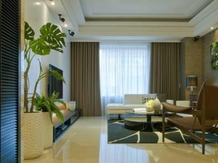 灰色中式风格客厅窗帘装修图片