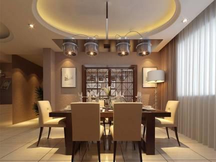 灰色简欧风格餐厅吊顶装修效果图