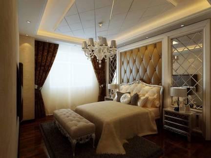 棕色欧式风格卧室时尚吊顶装修设计图