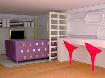 现代风格客厅白色吧台装修设计图