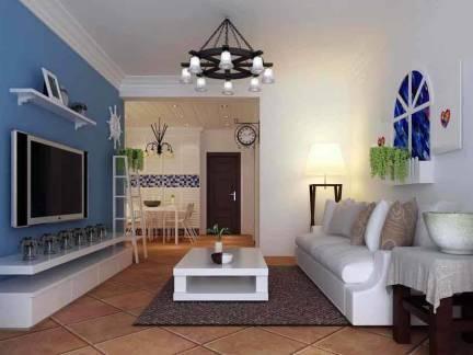 蓝色地中海风格客厅电视柜装修美图