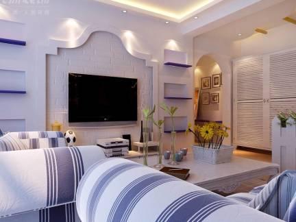 米色地中海风格客厅电视柜装修图片