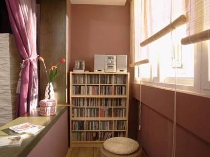 棕色日式风格温馨阳台窗帘装修图片