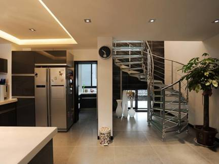 棕色现代风格厨房吊顶装修图片