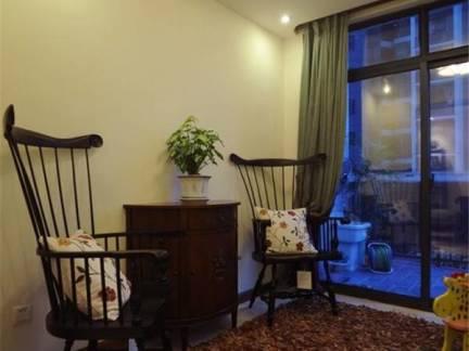 灰色美式风格唯美阳台窗帘装修设计图