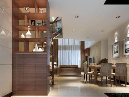 原木色现代风格餐厅优雅隔断装修美图