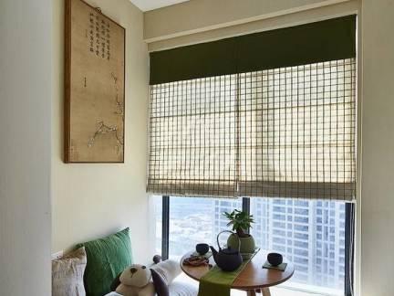 唯美棕色现代风格阳台窗帘装修设计图