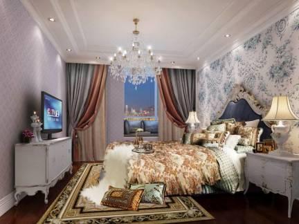 米色欧式风格卧室吊顶装修效果图