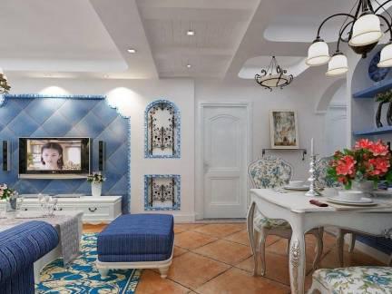 灰色地中海风格客厅背景墙装修美图