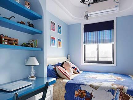 蓝色地中海风格儿童房华美灯具装修图片