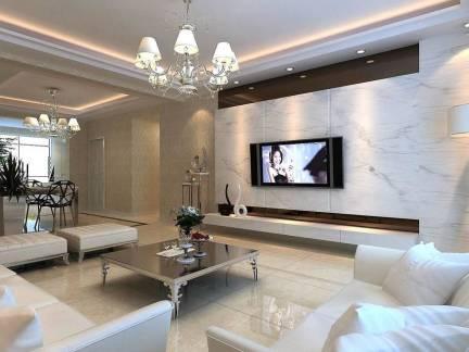 白色现代简约风格客厅吊顶装修图片