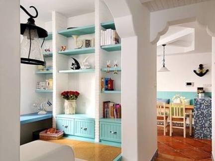 白色地中海风格客厅书架装修设计图