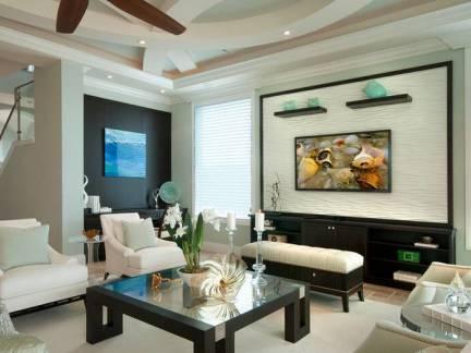 白色简欧风格客厅背景墙装修效果图