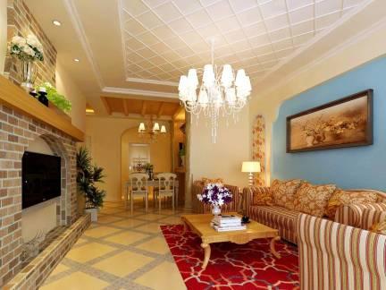米色地中海风格客厅吊顶装修图片