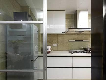 灰色现代风格厨房隐形门效果图