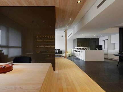 原木色现代风格餐厅唯美吊顶