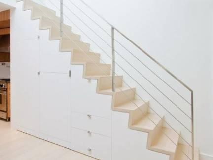北欧风格客厅白色楼梯设计效果图