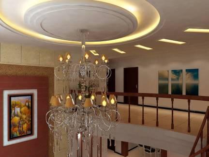 棕色现代风格餐厅吊顶装修效果图