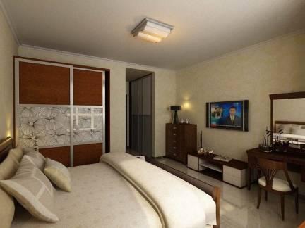 棕色现代风格卧室舒适电视柜装修设计图