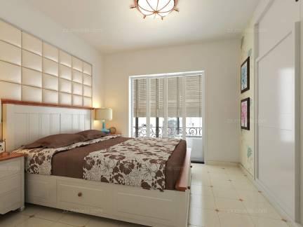 白色时尚美式风格卧室床头柜装修设计图