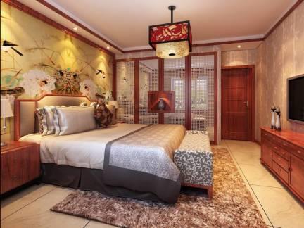 优雅棕色中式风格卧室电视柜装修美图