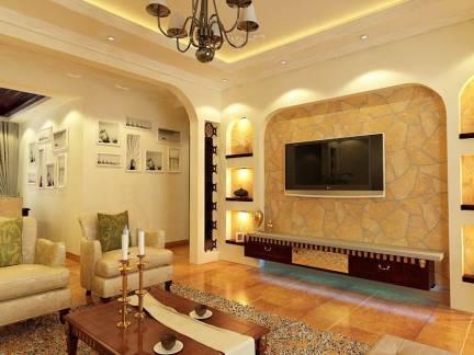优雅米色地中海风格客厅背景墙装修美图