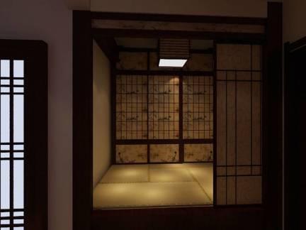 温馨黑色中式风格卧室榻榻米装修图片